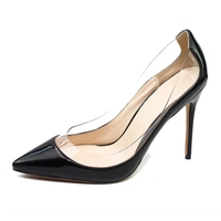Black Green Fashion New Women Pumps Shallow Genuine Leather Shoes Thin Heel Transparent Patent Leather High