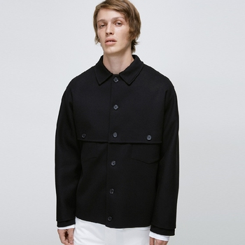 Spring's new men's short patchwork jackets in dark black with loose lapel tops.   S-6XL!!