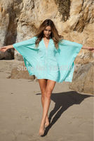 Green Kimono Crochet Poncho Beachwear New Fashion Women Sexy Clothes For The Beach 2015 Swim Wear