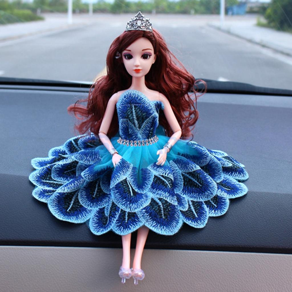 Blue Peacock Feather Elegant Doll Clothes Clothing for Barbie Dolls House Party Dress Embroidery Skirt Princess Gown Accessory barbie