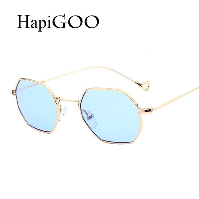 Hapigoo moda klasik erkekler altıgen kare güneş kadınlar ayna için 2017 new marka tasarımcısı güneş gözlükleri kadın temizle gözlük
