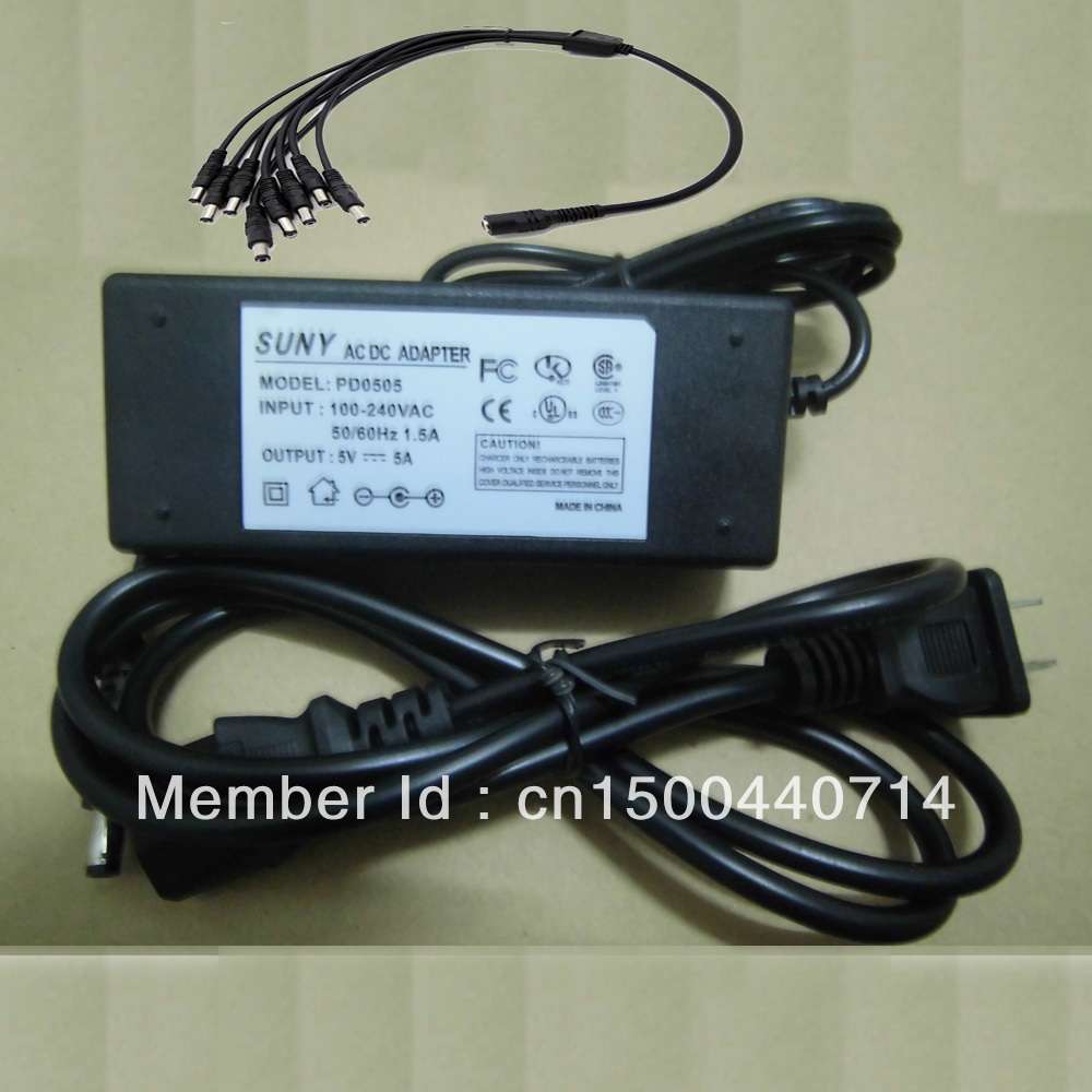 US Plug 5V 5A AC/DC Adapter Power Supply 8 Port Splitter Pigtail for CCTV . autoeye cctv camera power adapter dc12v 1a 2a 3a 5a ahd camera power supply eu us uk au plug