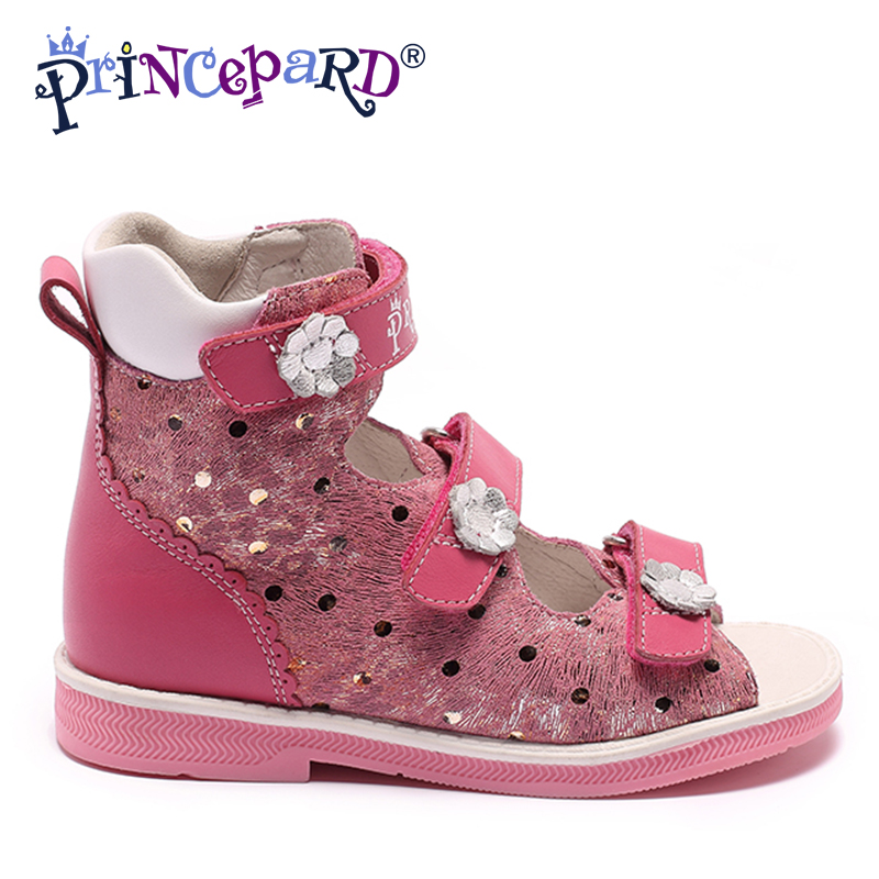 Princepard Boys and Girls pink Double Adjustable Strap Sandals genuine leather flowers orthopedic shoes kids baby shoes