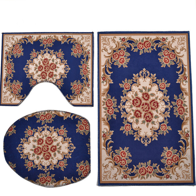 Retro Patterned Bathroom and Toilet Rugs Set