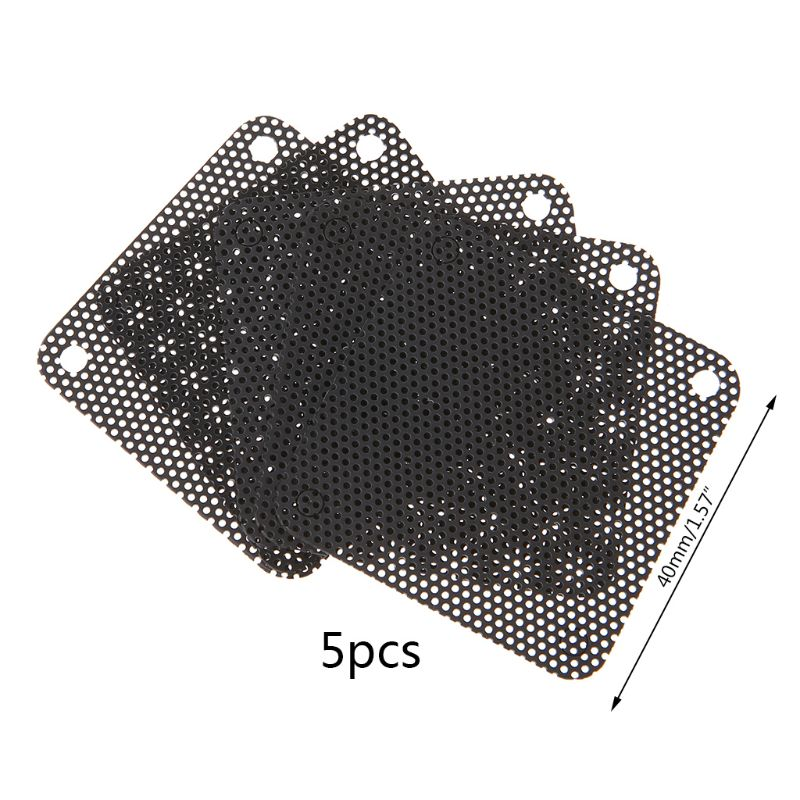 5PCS PVC Fan Dust Filter PC Dustproof Case Cuttable Computer Mesh Cover 40mm Mesh Black