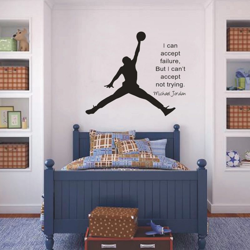 Michael Jordan Basketball Wall Decals Inspirational Quotes Vinyl Wall Art  Sticker For Boys Room/Study Room Decoration In Wall Stickers From Home U0026  Garden On ...
