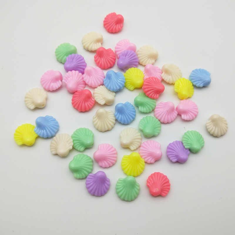 WISHMETYOU 50 sztuk 14 MM pocisków z tworzywa sztucznego luźne koraliki dla dzieci wystrój Party rzemiosło koraliki biżuteria Handmade bransoletka naszyjnik Making nowy