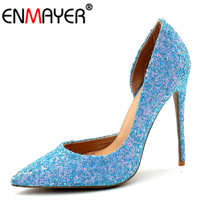 ENMAYER Summer Women Shoes Super High Heels Pumps Glitter Slip On Bling Blue Gold White Banquet Wedding Party Shoes Women phyanic bling glitter high heels 2017 silver wedding shoes woman summer platform women sandals sexy casual pumps phy4901