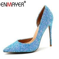 ENMAYER Summer Women Shoes Super High Heels Pumps Glitter Slip On Bling Blue Gold White Banquet Wedding Party Shoes Women