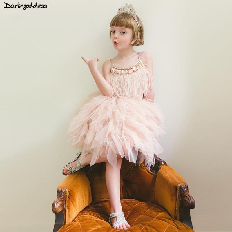 2019 New First Communion   Dresses   for   Girls   Pink Tulle Ball Gown Feather Pegeant   Dresses   Short   Flower     Girl     Dresses   for Weddings