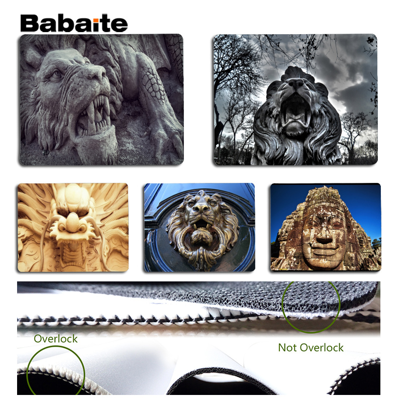 Babaite Vintage Cool Chinese stone statue Laptop Computer Mousepad Size for 18x22cm 25x29cm Rubber Mousemats