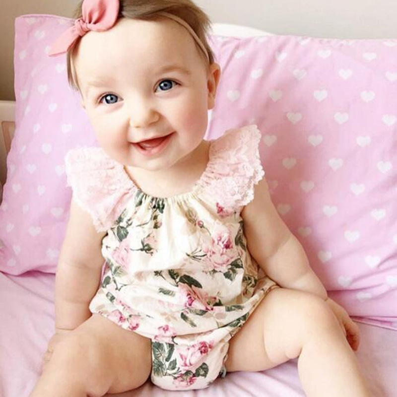 2019 Summer Baby Girl Summer Clothes Fashion Print Baby Bodysuit Lace Sleeveless Organic Cotton Baby Clothes Costume