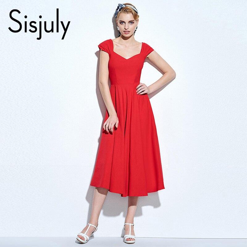 Sisjuly винтажное платье 1950 S Классические линии Ретро вечерние элегантные женские летние платья с v-образным вырезом красный Качели старинные ...