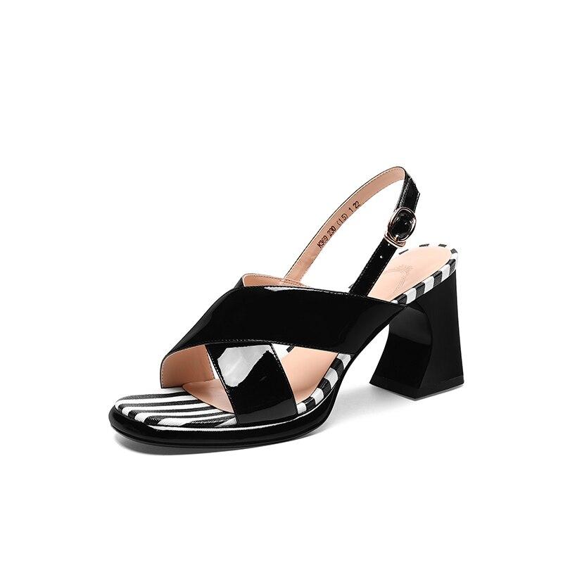 De Abierta rosado Punta Genuino Cuero Negro Las Rayas Mujer Verano Señoras Zapatos Sandalias aUdxnw6aq
