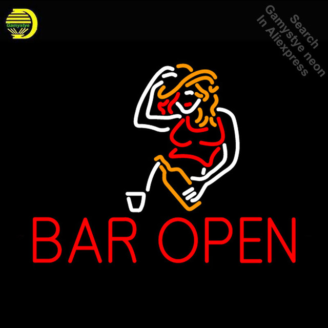 NEON SIGN For Bar Open With Girl neon Light Sign Club Advertise Window Hotel vintage Neon sign for sale neon light Art Lamps