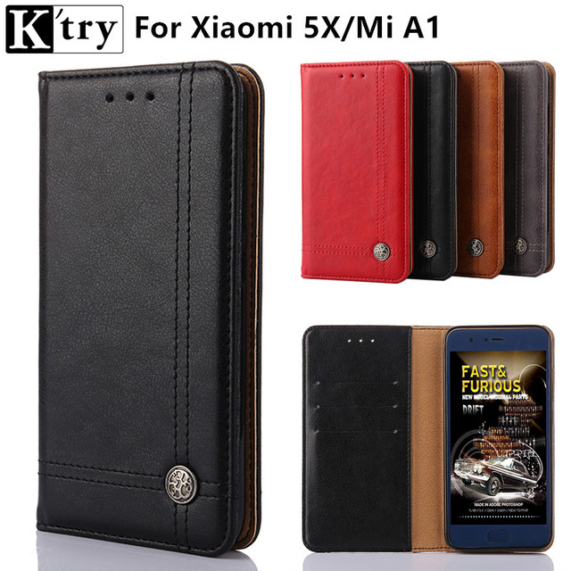 K'try for Xiaomi Mi 5X Phone Case Mi A1 Cover Vintage Pu leather With Silicone Cover Case for Xiaomi Mi 5X/MI A1/MI5X Fundas