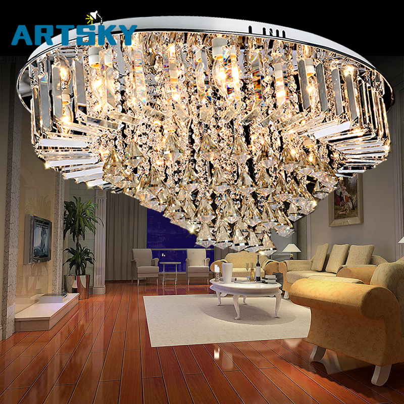 Top selling special price 100% guaranteed large modern brief ceiling crystal chandelier, crystal lighting for living room hall