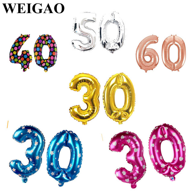 WEIGAO 16Inch 30 40 50 60th Birthday Party Balloons Happy Decoration For Adult Gifts Foil Balloon Supply