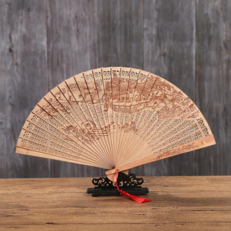 Chinese Folding Fan Original Wooden Hand Fan Flower Bamboo Openwork Pocket Fan For Home Decoration Craft Gifts