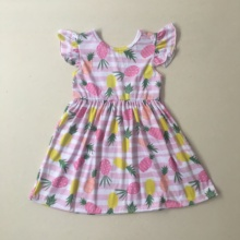 Puresun Hot Sale New Design Baby Girls Pineapple Pattern Lovely Dress Flutter Sleeve Boutique Remake Summer Children