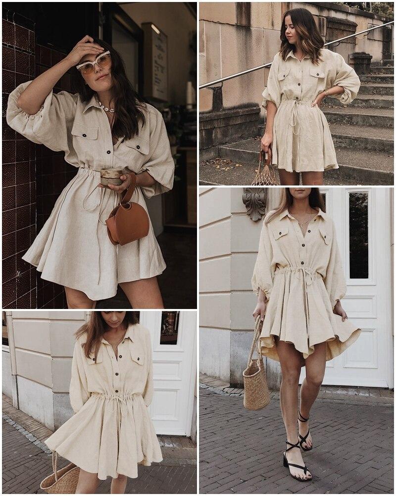 Affogatoo Vintage elagant women mini shirt dress Casual lantern sleeve short dress Turndown collar lace up linen female dresses 2