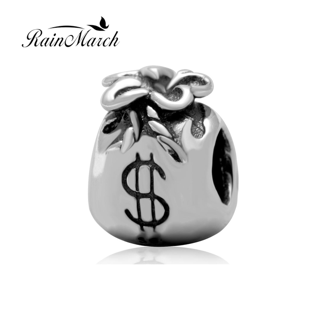 fa5ed2a55 Beads wholesale Original 925 sterling silver Dollar Bag charms Fit for  Pandora Bracelets European Style DIY