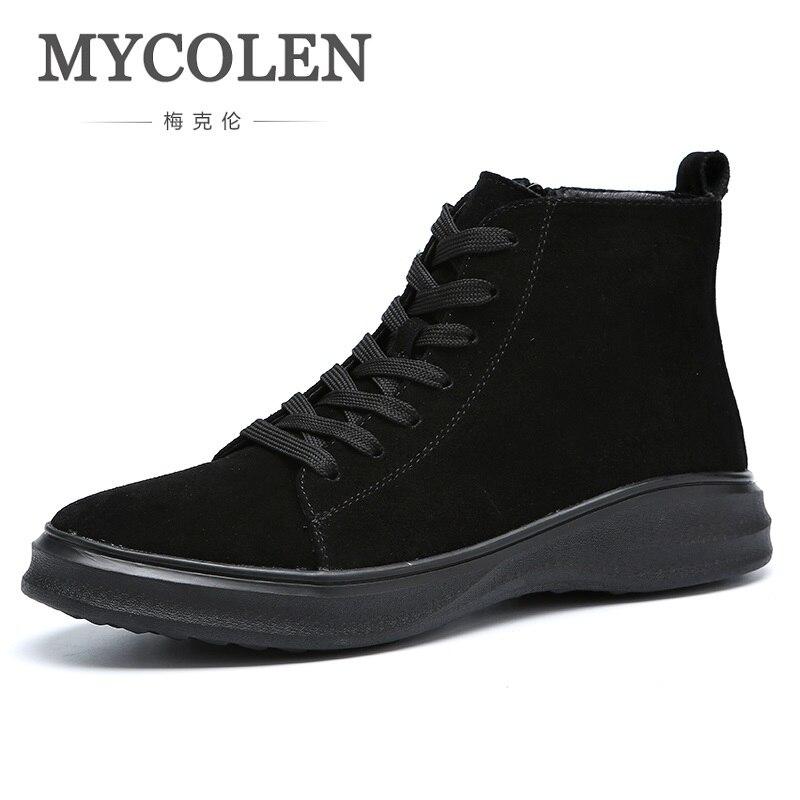MYCOLEN 2018 Hot Sale Top Quality Genuine Leather Men Boots Comfort Men Shoes Cashmere Warm Winter Snow Boots Coturno Militar