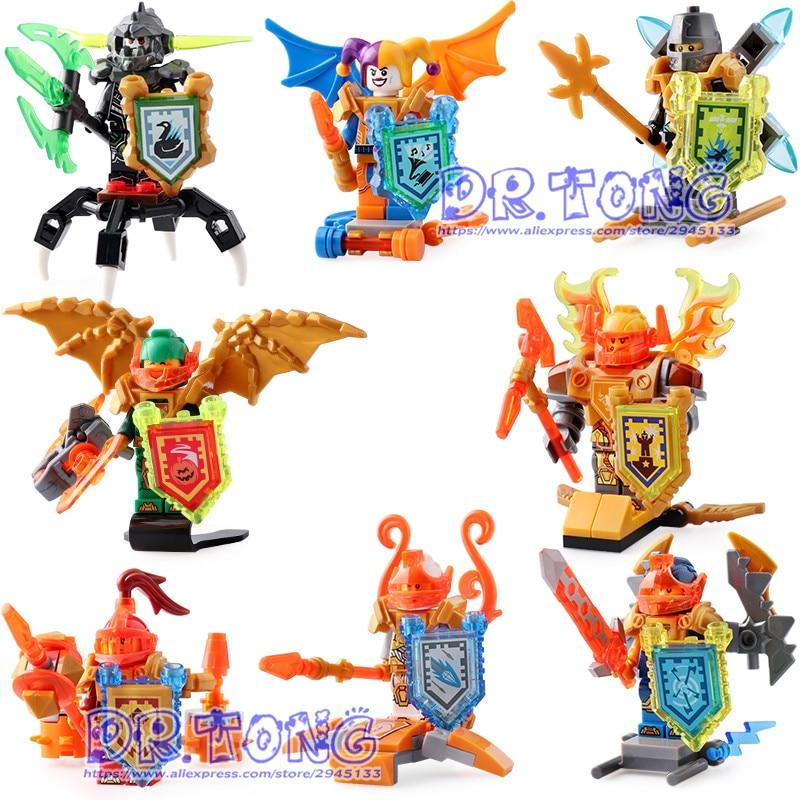 DR.TONG 80PCS/LOT SY694 Knights Toys Building Blocks Figures Clay,Jestro,Macy,Axl,Lance Toys Bricks For Children Gifts 80pcs 2x2 basic high bricks 2 2 4 holes diy building blocks toys