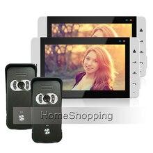 FREE SHIPPING Home Intercom Wired 7 inch TFT Video Doorphone Intercom System 2 White Screen + 2 Outdoor Intercom Camera IN STOCK