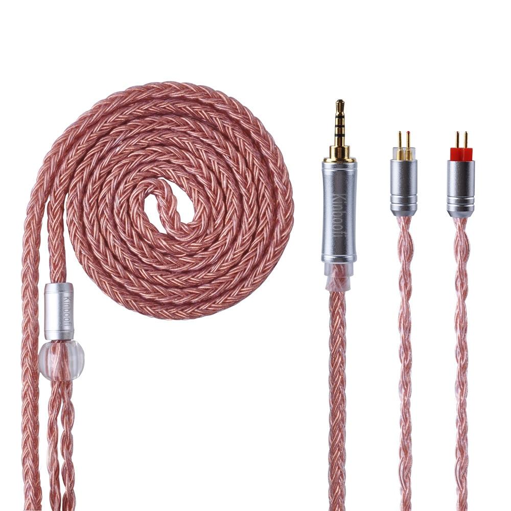 Kinboofi 16 Core Argent Plaqué Câble 2.5/3.5/4.4mm Équilibrée Écouteurs Mets Câble Avec MMCX/2Pin pour KZ ZST AS10 TRN CCA C10