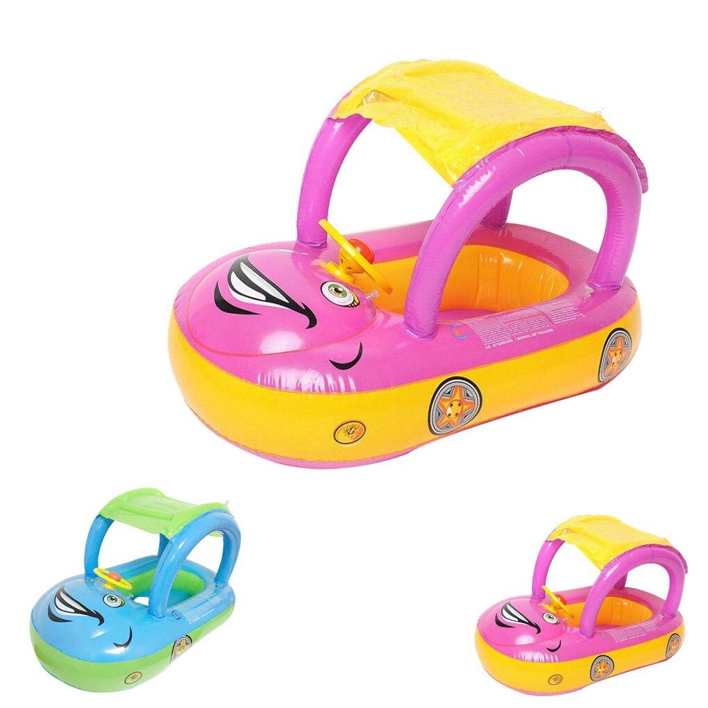 High Quality Baby Seat Boat Car Sunshade Swimming Ring Sunshade Cartoon Car Kids Baby Child Toddler Swim Float Seat