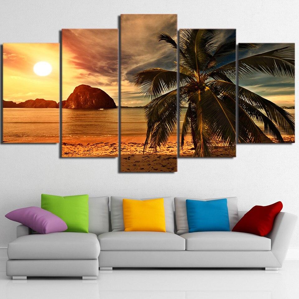 Tropical beach palm tree Nature 5 Piece Canvas Art Framed Print Wall ...