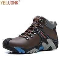 Natural Leather Boots Men Warm Plush Winter Men Boots Anti-skidding Winter Shoes Men High Quality Brown Blue Orange