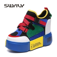 SWYIVY Patchwork Color Sneakers Shoes Woman Wedge Buckle Slip On Female Casual Dad Shoes Platform Comfortable Lady Sneakers