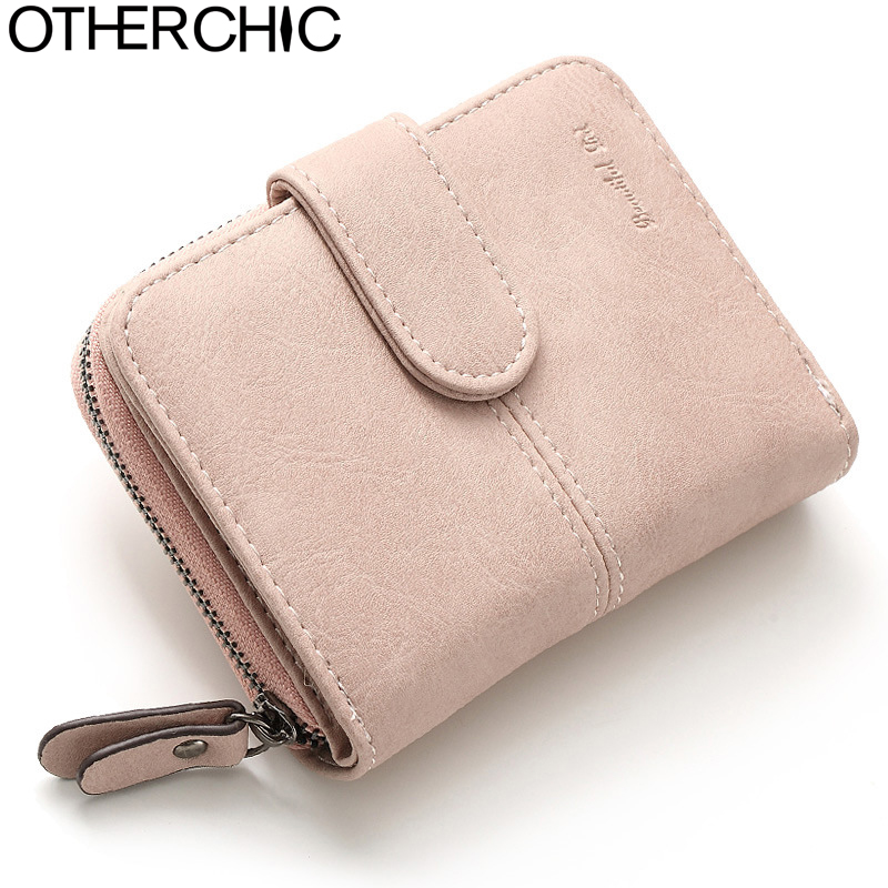OTHERCHIC Nubuck Leather Women Short Wallets Ladies Fashion Small Wallet Coin Purse Female Card Wallet Purses Money Bag 6N08-15 otherchic women long wallet clutch wallet purse card slots zipper pouch money clip bag women purse wallets female purses 6n06 02
