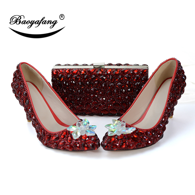 Wine Red Women Party Wear Shoes With Matching Clutch Bag