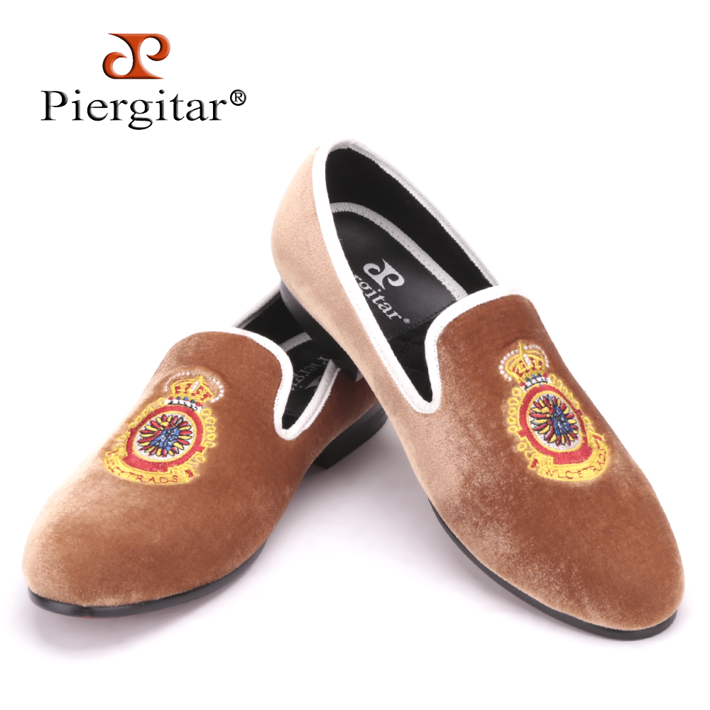 Turkey Crown embroidery Brown Men Velvet Shoes Men Big Size Loafer Men Flats Size 4-17 Free shipping