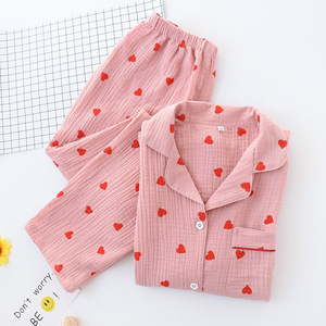 Image 2 - Spring New Ladies Pajamas Set Heart Printed Crepe Cotton Double layer Gauze Turn down Collar Long sleeve Trousers Household Wear