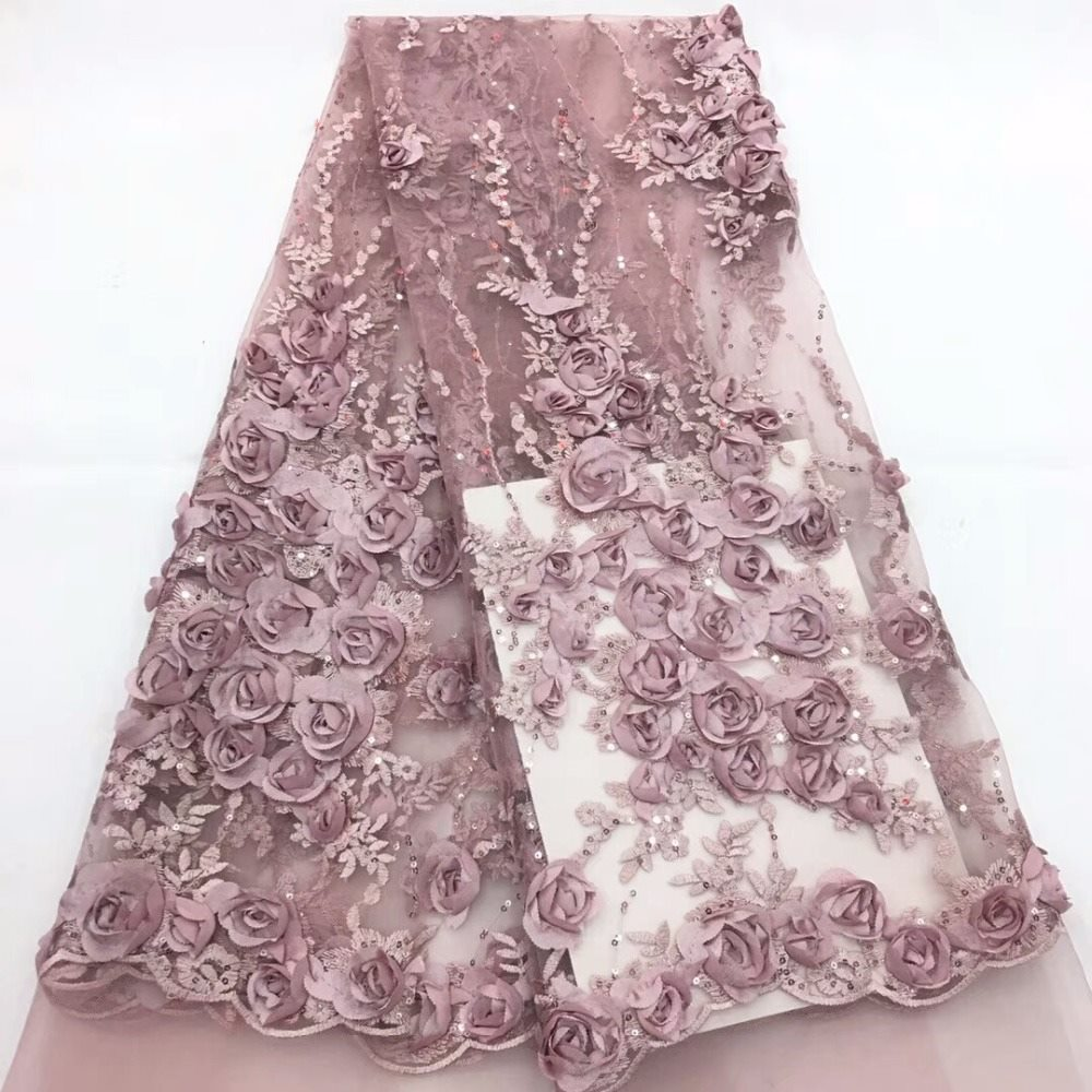 French lace sewing muslin fabric, rose 3D applique transparent mesh fabric, with sequins