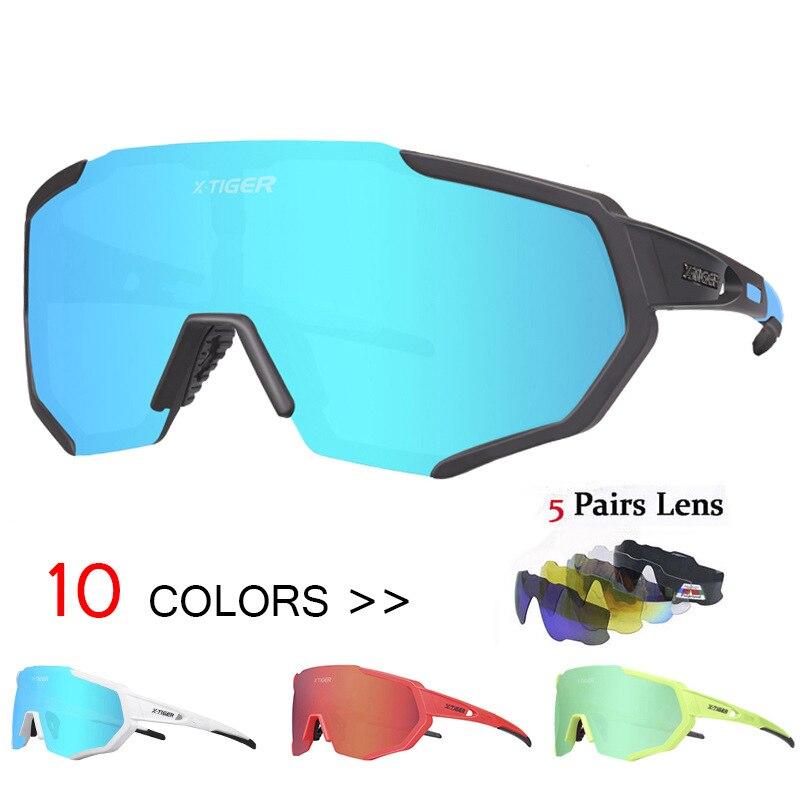 Lunettes de soleil polarisées cyclisme Sports de plein air équitation lunettes de vélo hommes femmes VTT lunettes de soleil lunettes lunettes 5 lentilles
