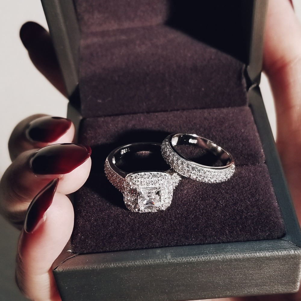 Moonso trendy Luxury 925 Sterling Silver Wedding Ring Set band for bridal girls and Women ladys love couple pair jewelry R3400 5