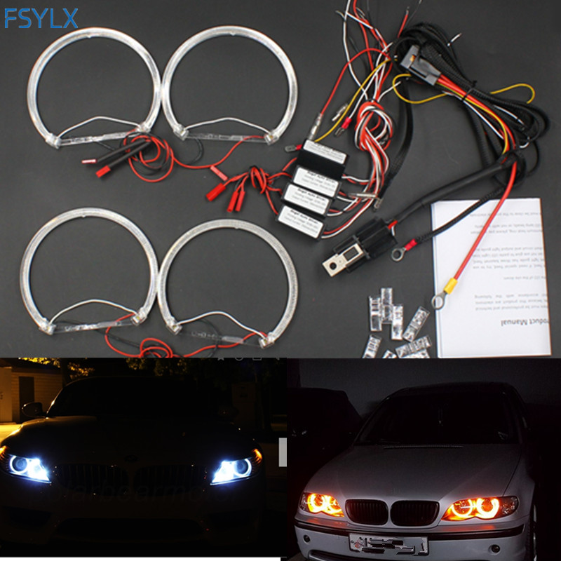 FSYLX LED Angel Eyes for BMW E46 E39 E38 E36 Projector SMD LED halo rings kit white Yellow LED angel eyes for bmw e46 4*131mm