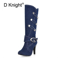 Plus size 32-43 Women Denim Knee High Boots High Heels Buckle Strap Metal decoration Pointed Toe Spike Heels Boot Shoes Woman цены онлайн