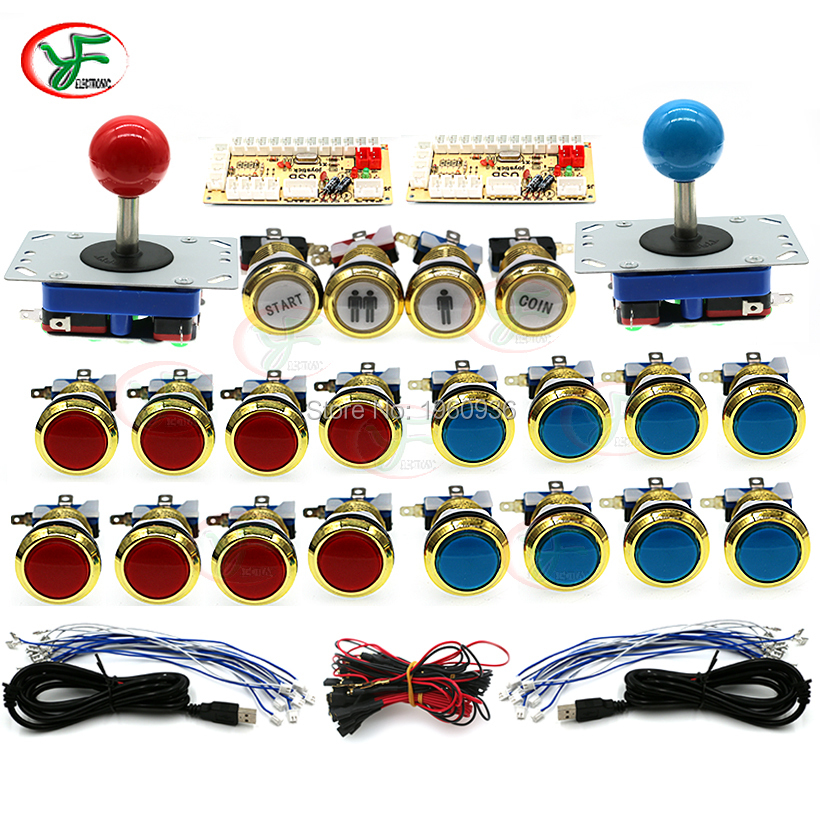 Arcade Joystick DIY Kit Zero Delay Arcade DIY Kit 2 Players USB Encoder To PC Arcade Joystick +LED Chrome Gold Push Buttons