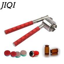JIQI máquina de sellado Manual de botellas de Perfume, sellador de botellas de acero inoxidable de 13mm, 15mm y 20mm, taponadora Manual con tapa abatible