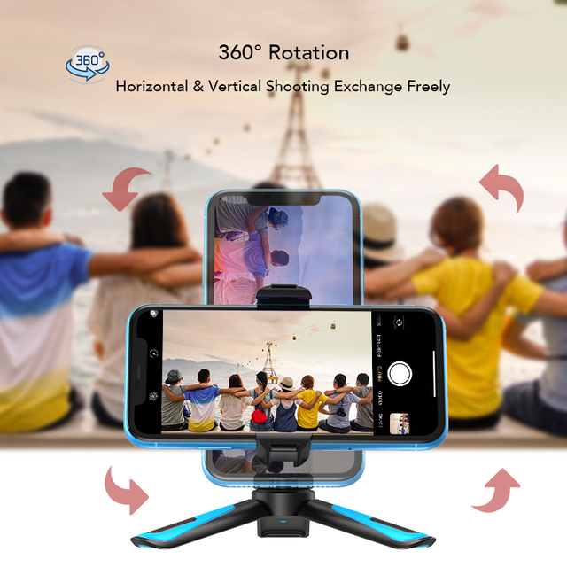 APEXEL 360 Rotation Vertical Shooting 2 in 1 Mini Tripod Phone Mount Holdr for iPhone Xs Max Xs X 8 7 Plus Samsung S8 S9 4