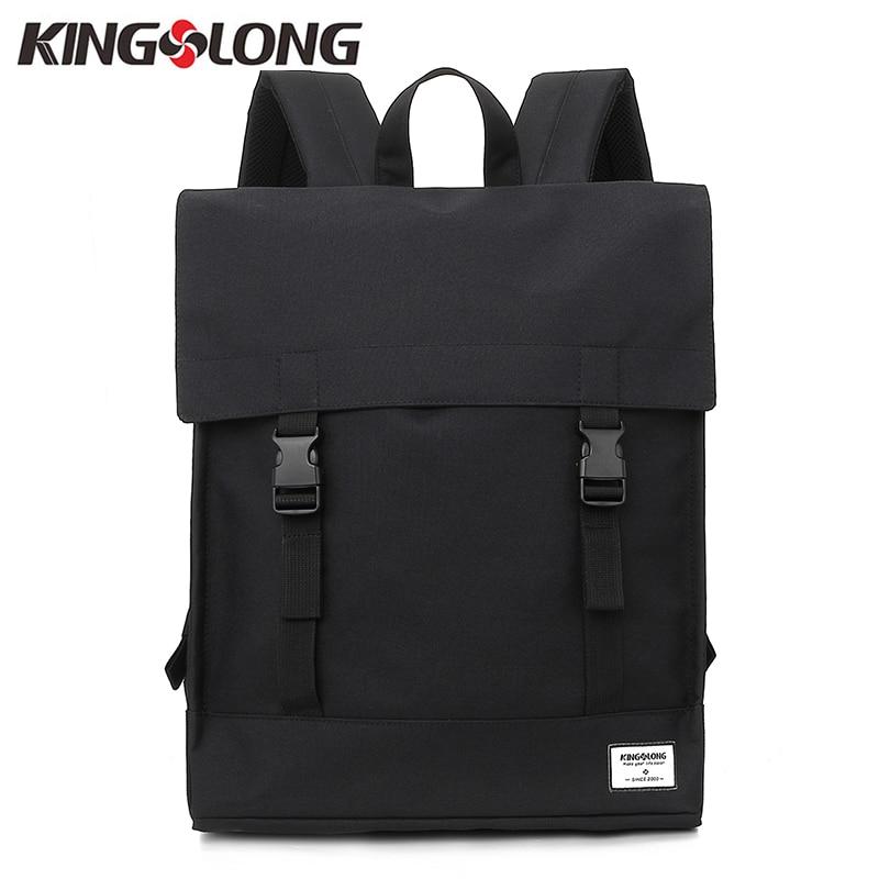 KINGSLONG Canvas Men Women Hasp Backpack Student School Bag Large Capacity Trip Backpack Laptop Backpack for