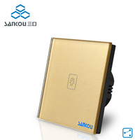 Gold Crystal Glass Panel Smart Switch EU Standard Wall Switches 220v Touch Switch Screen 1gang 2way