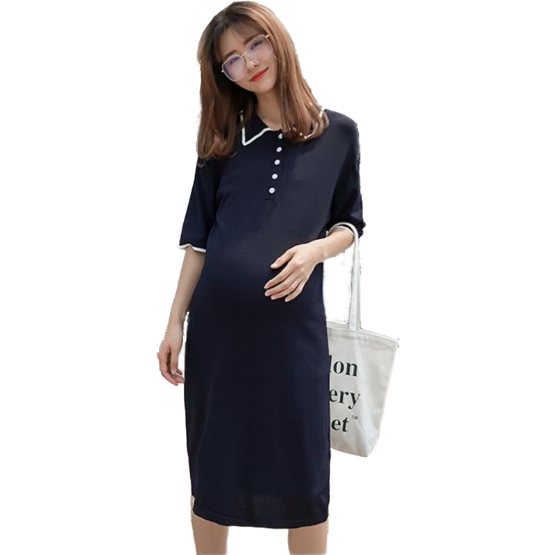 все цены на Pregnant woman's dress Ice silk lapel half button long-length pregnant dress vestido largo Summer Elegant maternity clothes