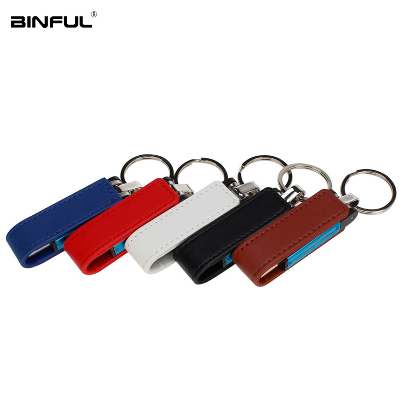 Wholesale Leather Metal Keychain Usb Flash Drive 64GB 32GB Pendrive Usb 2 0 U Disk Pen Drive 128GB 16GB 8GB 4GB Thumbdrives Gift in USB Flash Drives from Computer Office